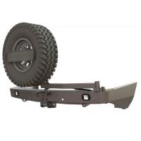 Бампер силовой задний STC для Nissan Patrol Y62 с квадратом под фаркоп, калиткой крепления запасного колеса и противотуманными фарами
