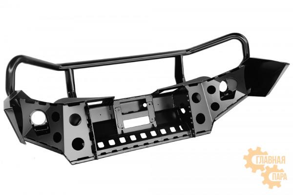 Бампер силовой передний РИФ для Mitsubishi L200 2015+ с доп. фарами, защитной дугой и защитой бачка омывателя