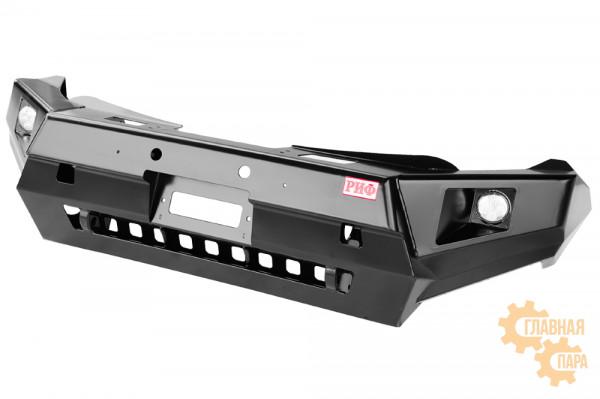 Бампер силовой передний РИФ для Mitsubishi L200 2015-2019 с доп. фарами и защитой бачка омывателя