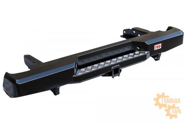 Бампер силовой задний РИФ для Nissan NP300 до 2010 (кузов 1400 мм) с квадратом под фаркоп