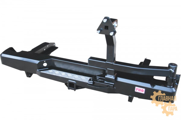 Бампер силовой задний РИФ для Nissan NP300 до 2010 (кузов 1400 мм) с квадратом под фаркоп и калиткой