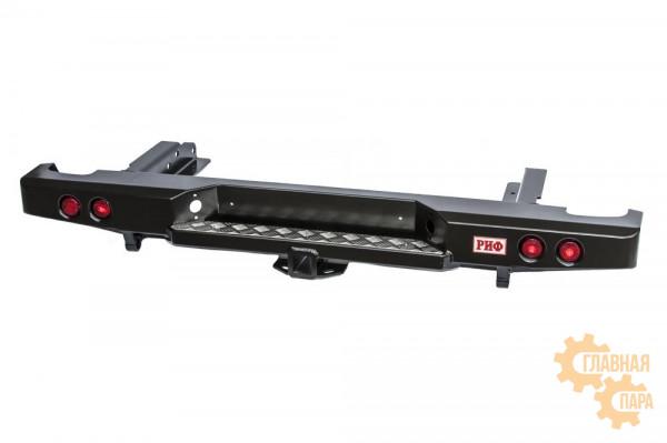 Бампер силовой задний РИФ для Nissan NP300 2010+ (кузов 1500 мм) с квадратом под фаркоп и фонарями