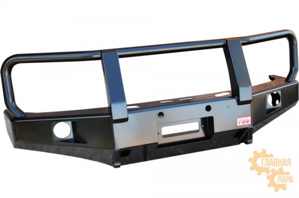 Бампер силовой передний РИФ для Nissan Navara D40 / Pathfinder R51 (2004-2009) с доп. фарами и защитной дугой