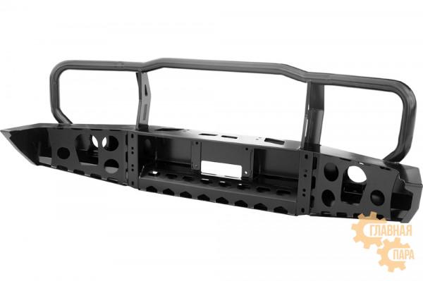 Бампер силовой передний РИФ для Toyota Land Cruiser 76/78/79 2007+ c доп. фарами и защитной дугой