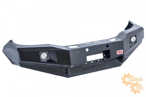 Бампер силовой передний Toyota РИФ для Hilux 2012-2014 с доп. фарами и защитой бачка омывателя, на рестайлинг