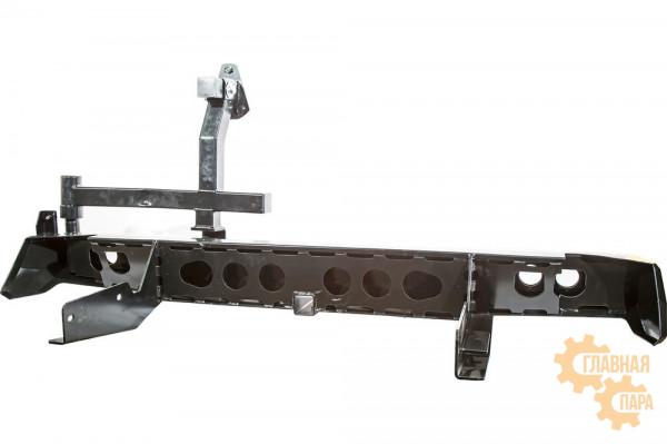 Бампер силовой задний РИФ для VW Amarok с квадратом под фаркоп, калиткой, фонарями, подсветкой номера
