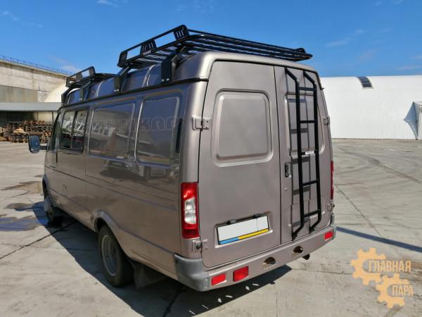 Багажник с боковым ограждение УНИКАР для ГАЗ-2752 Соболь Газель (1500х1500х130мм 2шт) с сеткой