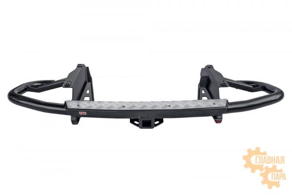 Бампер силовой задний РИФ для Toyota Land Cruiser Prado 120 c квадратом под фаркоп