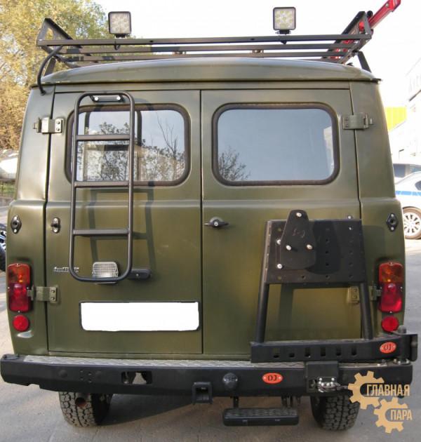 Задний силовой бампер OJ 03.108.02 для УАЗ Буханка с калиткой и квадратом под фаркоп