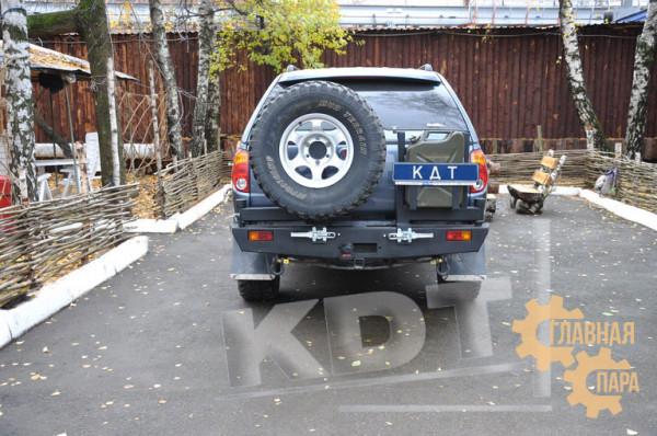 Задний силовой бампер KDT для Mitsubishi L200 2005-2015 под лебедку