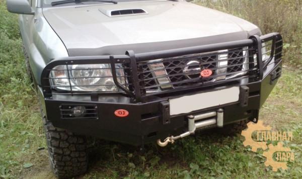 Передний силовой бампер OJ 02.009.13 для Nissan Patrol Y61 2004-2010