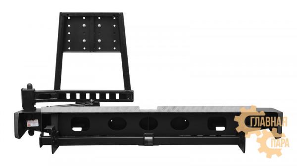 Задний силовой бампер OJ 03.122.12 для Toyota Hilux 2011-2015 с правой калиткой и квадратом под фаркоп