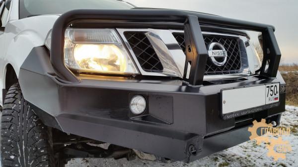 Бампер передний силовой РИФ RIFD40-10350-10 на Nissan Navara D40 и Pathfinder R51 2010+ с  защитной дугой и фарами