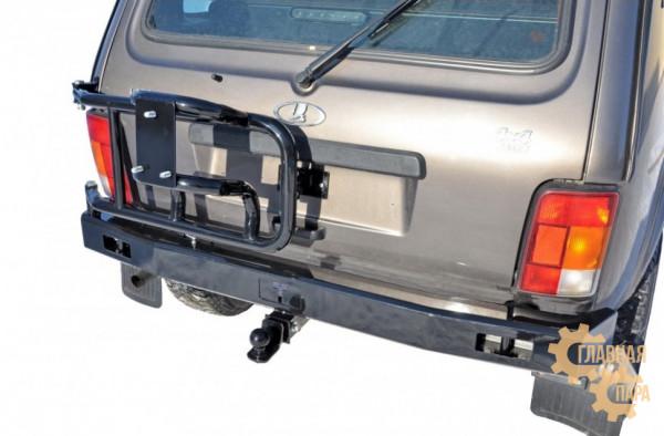Задний силовой бампер Niva-Parts на ВАЗ 2121 Нива с кронштейном запаски
