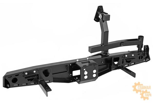 Бампер задний силовой РИФ RIF469 на УАЗ Хантер с площадкой под лебедку и калиткой