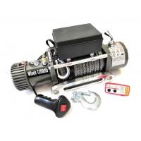 Лебёдка электрическая 12V Electric Winch 12000 lbs 5443 кг (влагозащищенная + радиатор охлаждения) синтетический трос 10 мм