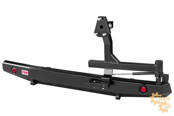 Бампер силовой задний РИФ для УАЗ Буханка без квадрата под фаркоп, с калиткой и фонарями, стандарт