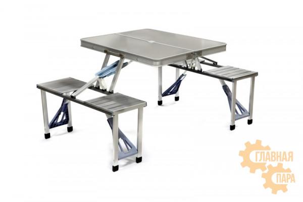 Алюминиевый складной туристический столик (0.85m x 0.66m x 0.66m) с четырьмя табуретками, являющимися частью конструкции