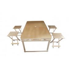 Алюминиевый складной туристический столик (1.2m x 0.7m x 07m) в комплекте с четырьмя табуретами (отдельными)