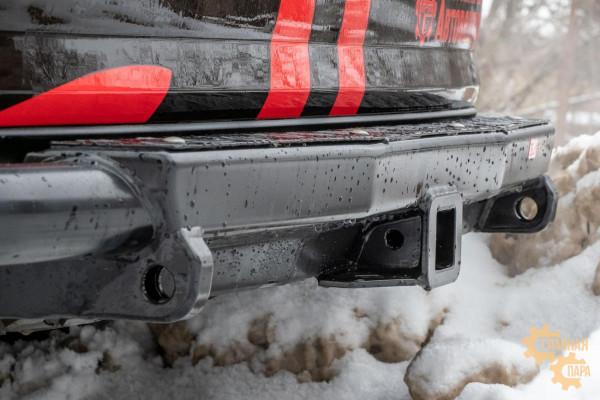 Бампер силовой задний РИФ для Toyota Fortuner 2015+ c квадратом под фаркоп