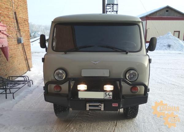 Бампер передний силовой РИФ RIF452 на УАЗ Буханка c площадкой под лебёдку, низкая дуга