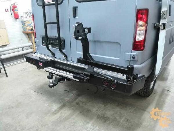 Бампер силовой задний РИФ для ГАЗ Соболь с квадратом под фаркоп, калиткой и фонарями стандарт