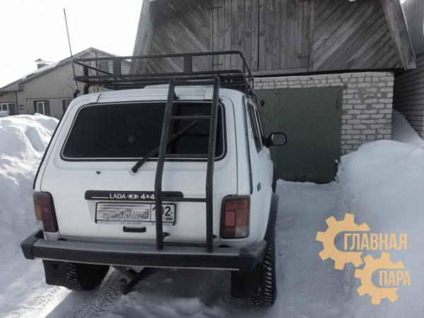 Багажник экспедиционный Б05.03 на Нива 3дв. 1600х1250х120 с сеткой и креплениями на водостоки