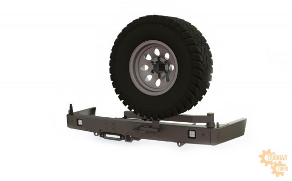 Задний силовой бампер STC для Toyota Land Cruiser Prado 150 с площадкой под лебедку, квадратом под фаркоп, калиткой и фонарями
