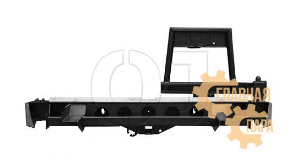 Задний силовой бампер OJ 03.405.02 для Nissan NP300 2010+ с калиткой под запаску и квадратом под фаркоп