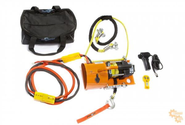 Лебедка электрическая переносная для Кроссоверов (SUV) и снегоходов СТОКРАТ SN 4.5 S 12V с синтетическим тросом и всем необходимым такелажем (в сумке)