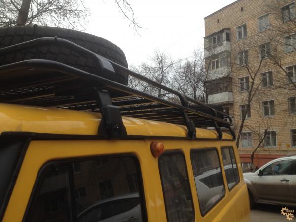 Багажник экспедиционный ЕВРОДЕТАЛЬ для УАЗ 3741, 2206 (микроавтобус) с сеткой