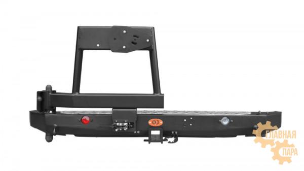 Задний силовой бампер OJ 03.105.10 на ВАЗ 2121 Нива с универсальной калиткой