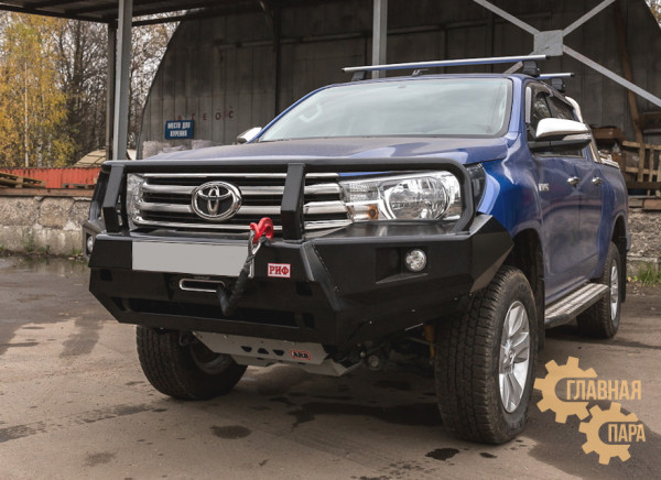 Бампер передний силовой РИФ RIFREV-10350 на Toyota Hilux 2015+ с фарами и защитной дугой