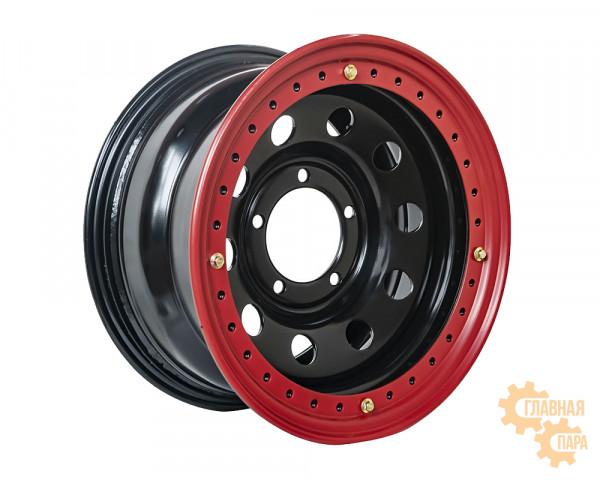 Диск усиленный УАЗ стальной черный 5x139,7 8xR16 d110 ET-3 с двойным бедлоком (красный)