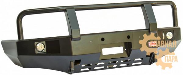 Бампер передний силовой РИФ RIFB25-10350 на Mazda B2500 с фарами и защитной дугой
