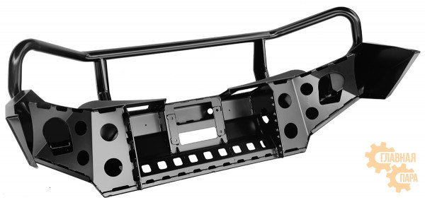 Бампер силовой передний РИФ для Mitsubishi L200 2015-2019 с защитной дугой и защитой бачка омывателя