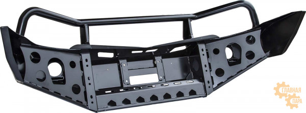 Бампер передний силовой РИФ RIFTRT-10350 на Mitsubishi L200 2005-2015 и Pajero Sport 2 с защитной дугой и фарами