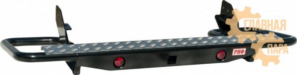 Бампер задний силовой РИФ RIFTRT-20157 на Mitsubishi L200 2005-2015 с квадратом под фаркоп и фонарями, трубный