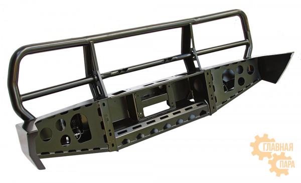 Бампер силовой передний РИФ для Toyota Land Cruiser 80 с доп. фарами и защитной дугой