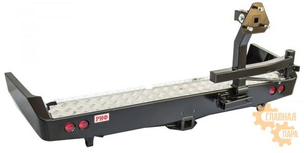 Бампер задний силовой РИФ RIF080-21125 на Toyota Land Cruiser 80 с квадратом под фаркоп, калиткой и фонарями