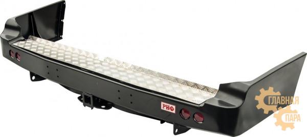 Бампер силовой задний РИФ для Toyota Land Cruiser 105 с квадратом под фаркоп и фонарями