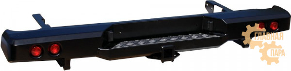 Бампер задний силовой РИФ RIFVIG-20150 на Toyota Hilux 2005-2014 с квадратом под фаркоп и фонарями