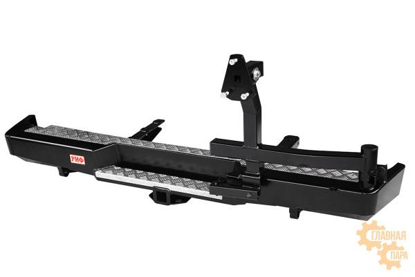 Бампер задний силовой РИФ RIFGAZ-20120 на ГАЗ Соболь с квадратом под фаркоп и калиткой