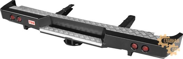 Бампер задний силовой РИФ RIFGAZ-20150 на ГАЗ Соболь с квадратом под фаркоп и фонарями