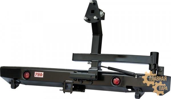 Бампер силовой задний РИФ для ВАЗ Нива с квадратом под фаркоп, калиткой, фонарями, подсветкой номера