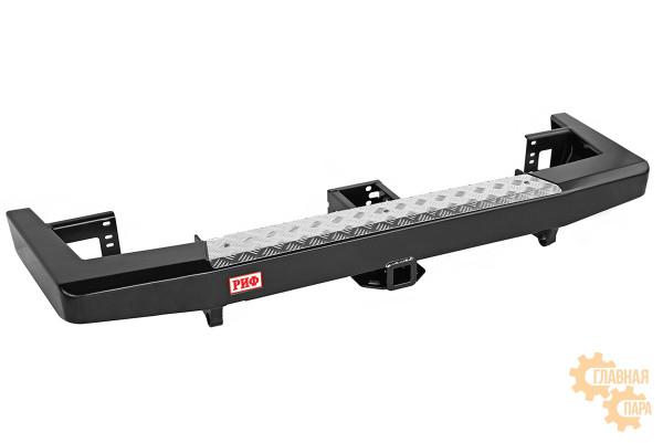 Бампер силовой задний РИФ для УАЗ Патриот 2015+ с квадратом под фаркоп, стандарт