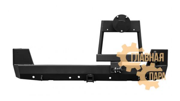 Задний силовой бампер OJ 03.132.51 с квадратом под фаркоп и калиткой на УАЗ Патриот в т.ч. рестайлинг 2014-