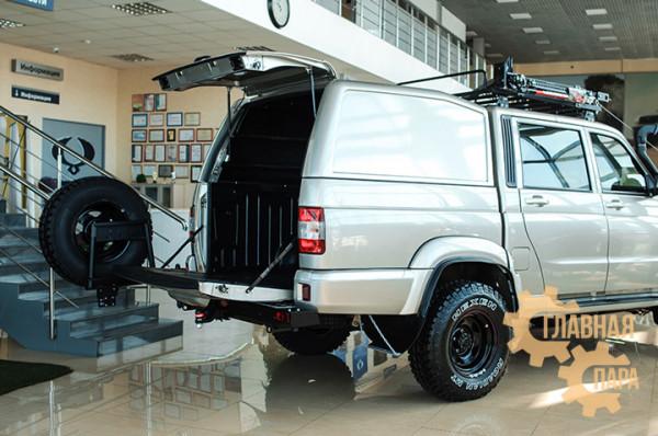 Задний силовой бампер OJ 03.418.03 для УАЗ Пикап с облегчённой калиткой под запаску