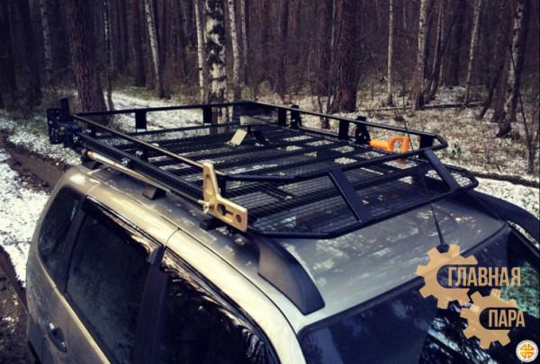 Багажник экспедиционный Б01.05 на Шевроле Нива (1600х1200х120мм) с сеткой и креплениями на рейлинги