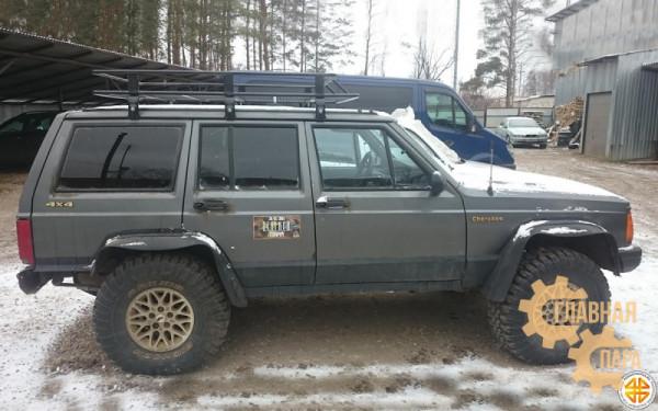 Багажник экспедиционный Б03.03 на JEEP Cherokee XJ (1700х1300х120мм) с сеткой и креплениями на водостоки